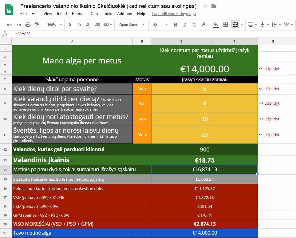 Individualios veiklos mokesčių ir algos skaičiuoklė [Excel] 2
